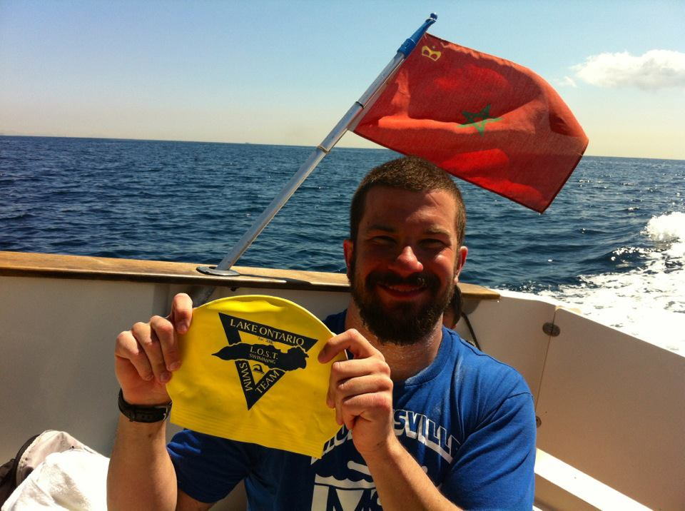 Darren Miller after just swimming the Strait of Gibraltar... an honorary LOSTie! (2012)