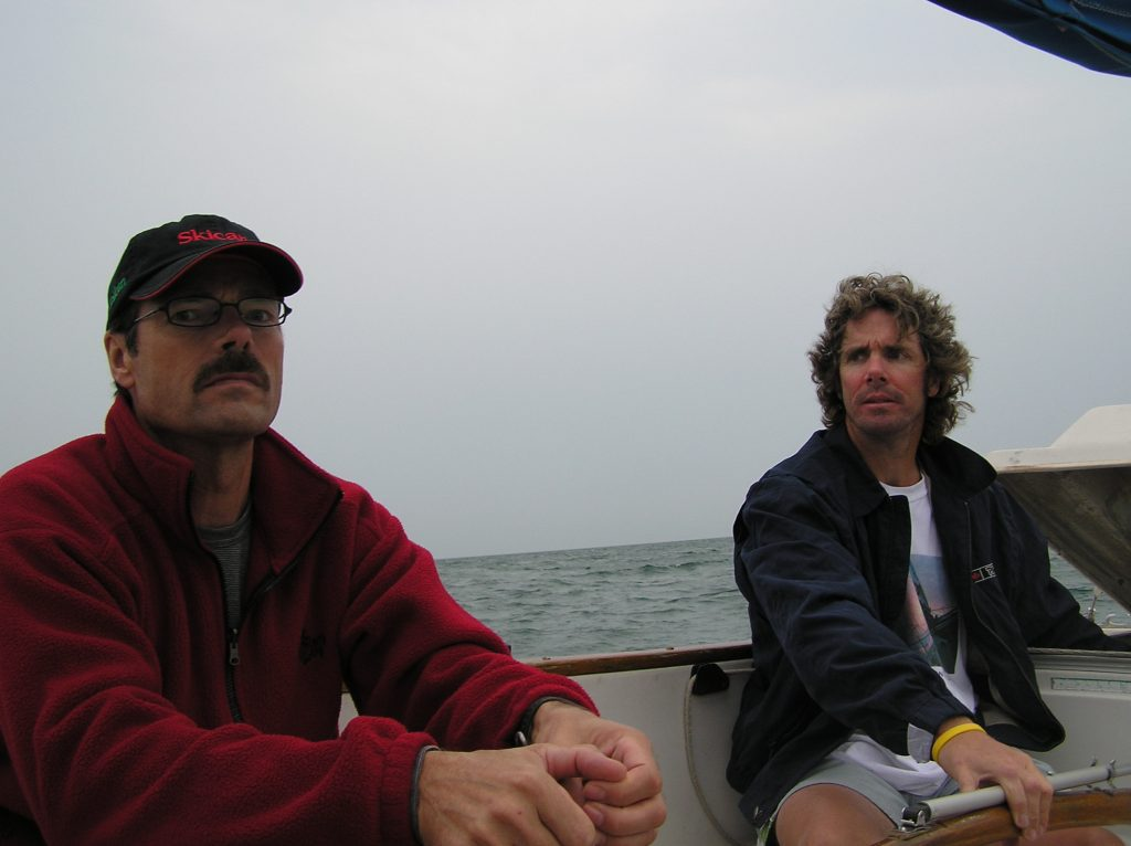 Richard and Alex... looking bored while I swam along beside on one of the first English Channel training swim in 2006. Yes, bored is a big part of marathon swimming... for everyone!